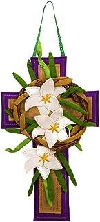 Evergreen Flag Easter Cross Burlap Door Decor