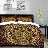 ropa de cama - Juego de funda nórdica, mandala, patrón de mandala en colores oscuros Ilustración de estilo arabesco antiguo Juego de funda nórdica simétrica, múltiple y de microfibra con 2 fundas de a