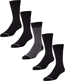 'Nautica Men\'s Moisture Wicking Dress Socks with Stay Up Cuff (5 Pack), Shoe Size 6-12.5, Black/Grey'
