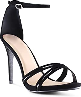 AFFORDABLE FOOTWEAR Women's Open Toe Ankle Strap Low Platform Stiletto High Heels Sandals