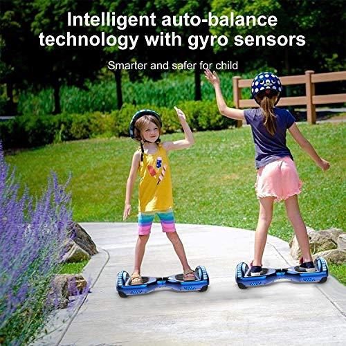COLORWAY Hoverhoard SUV 6.5 Pouces, Gyropode Tout-Terrain avec Bluetooth et Roues LED Flash,Self Balance Smart Scooter Auto-équilibrage,Coque Anti-Incendie (Bleu-Auto Balance)
