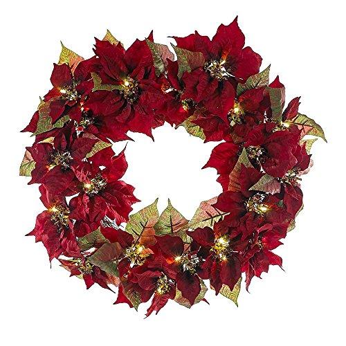 Kurt Adler 24-Inch Battery-Operated Red Poinsettia LED Wreath