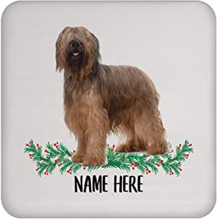 Sponsored Ad - Funny Briard Golden Brown Personalized Name Gift for Mom Coasters for Drinks