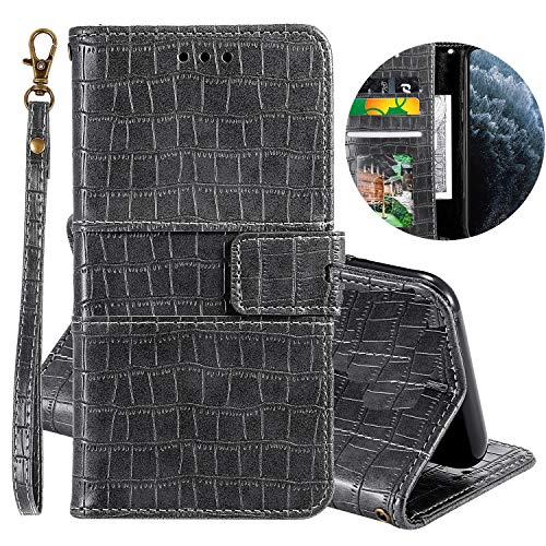 Miagon Crocodile Flip Case for Samsung Galaxy A71,Retro PU Leather Wallet Cover with Card Slots Magnetic Kickstand Function Bookstyle Bumper,Gray
