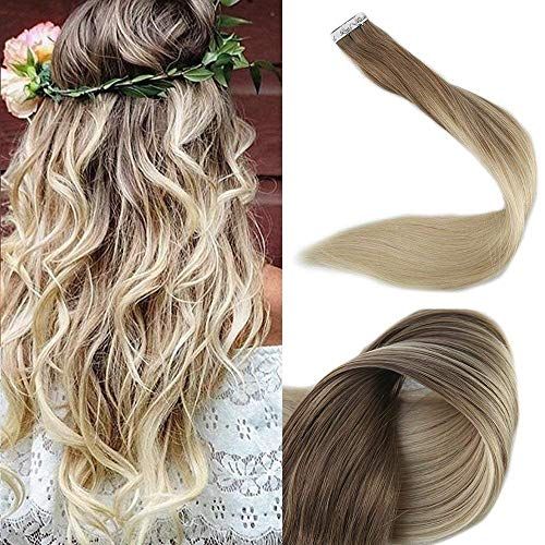 Full Shine Remy Tape in Extensions 12Zoll 30g Farbe 8/60 Aschbraune Mischung mit Blond Tape Extensions Echthaar Ombre Remy Haar Tape