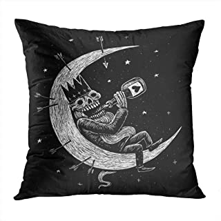 Llsty Throw Pillow Cover Polyester Print Dead Skeleton King Drinks Alcohol On Dead Alcohol Design Planet T Tattoo Soft Square for Couch Sofa Bedroom Pillowcase Home Style Cushion Case 20 x 20 Inch