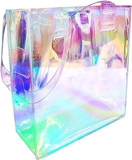 LTHERMELK Holographische Transparenz Strandtasche Regenbogenfarben Damenhandtasche Outdoor-Aufbewahrung GroßE UmhäNgetasche
