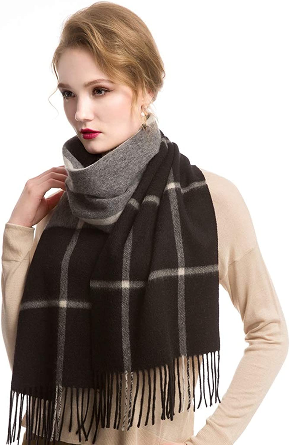Cold Weather Scarves Women's Long Scarf Cashmere Plaid Scarf Ladies Soft Scarf Wrapped Tassel Shawl Winter Classic Wild Scarf Ladies Gift Wraps (color   Black, Size   190  30cm)