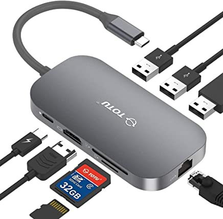 $59 Get USB C Hub, TOTU 8-In-1 Type C Hub with Ethernet Port, 4K USB C to HDMI, 2 USB 3.0 Ports, 1 USB 2.0 Port, SD/TF Card Reader, USB-C Power Delivery, Portable for Mac Pro and Other Type C Laptops (Silver)