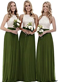 Zhongde Women's A Line Long Top Lace Bridesmaid Dress Evening Gown Wedding Party
