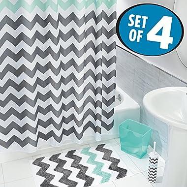 mDesign Chevron Fabric Shower Curtain, Microfiber Accent Rug, Toilet Bowl Brush, Wastebasket Trash Can - Set of 4, Gray/Aruba Blue