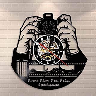 GVC Hands On Camera Cámara fotográfica Reloj de Pared Fotógrafos Disco de Vinilo Reloj de Pared Fotografía Estudio Logotipo Camarógrafo Obturador obsequios Regalo