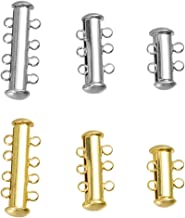 Healifty 6pcs Magnetic Lock Clasps Multi Strand Slider Necklaces Bracelet Connectors Tube Clasps for DIY Craft Jewelry Making