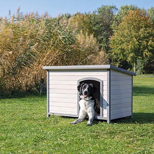 PaylesswithSS Caseta de madera para perros al aire libre plana con bisagras de fieltro clásico (tamaño ML: W 104 x D 68 x H 72 cm, gris)
