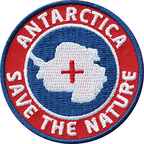 2 x Antarktis Patches gestickt 60 mm Rot / Arktis Südpol Expedition Polar Forscher Klima Winter / Patch zum Aufnähen Aufbügeln auf Jacke Kleidung / Aufnäher Aufbügler Flicken Bügelflicken Abzeichen