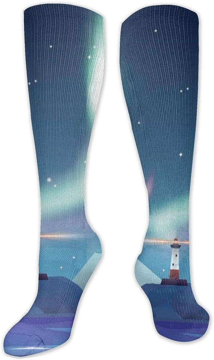 Aurora Lighthouse Creative Abstrac Knee High Socks Leg Warmer Dresses Long Boot Stockings For Womens Cosplay Daily Wear