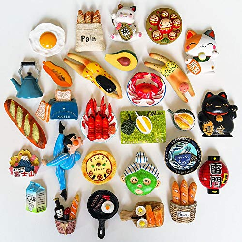 3D magnetic refrigerator stickers fridge magnet personalized creative cartoon cute Bread crabs ornaments Pan kettle collection
