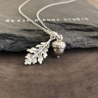 Sterling Silver Oak leaf and Acorn Charm Necklace, 18