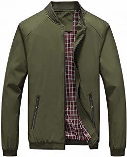 Men's Casual Lightweight Flight Jacket Softshell Zipper Windbreaker Bomber Jacket