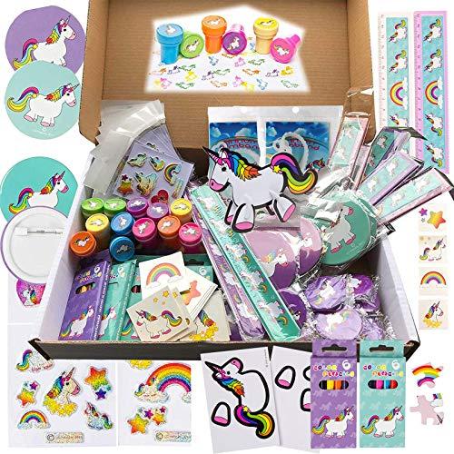 JuniorToys Einhorn-Party 100 Kleinspielwaren - Mitgebsel Tombola Schultütenfüller Kindergeburtstag - Einhorn-Mottoparty