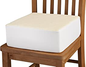 Extra Thick Foam Chair Cushion – Portable Chair Pad Removable Washable Beige Slip-on Cover – 5 Inches Thick Added Pain Pre...