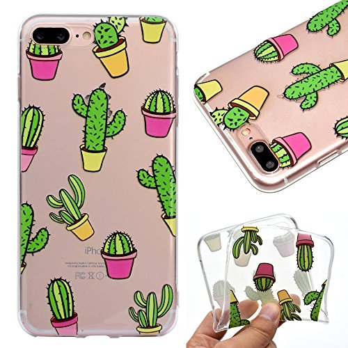 IJIA Custodia per Apple iPhone 7 Plus / 8 Plus Trasparente Adorabile Cactus TPU Silicone Morbido Protettivo Shell Coperchio Caso Bumper Protettiva Case Cover per Apple iPhone 7 Plus / 8 Plus (5.5')