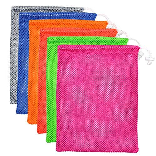 M-Aimee Mesh Stuff Sack, Wäschesack, Golf Ball Tasche, strapazierfähiges Leichte Nylon Mesh Bag mit Kordel Lock Verschluss, Mehrfarbig, Small