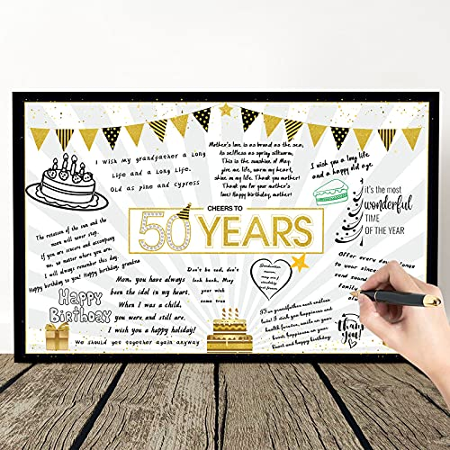 Birthday Card decoration Happy Birthday Jumbo Message Greeting Cards Black and Gold Balloons Stars Birthday Party Decoration Card Guest Book Alternative Sign Poster for men women (50th Birthday)