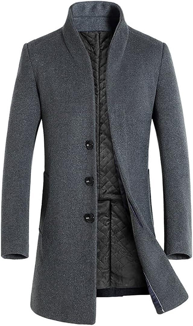Autumn Winter Long Overcoat Men Slim Fit Long Wool Blends Coats Men Solid Business Windbreaker Jackets