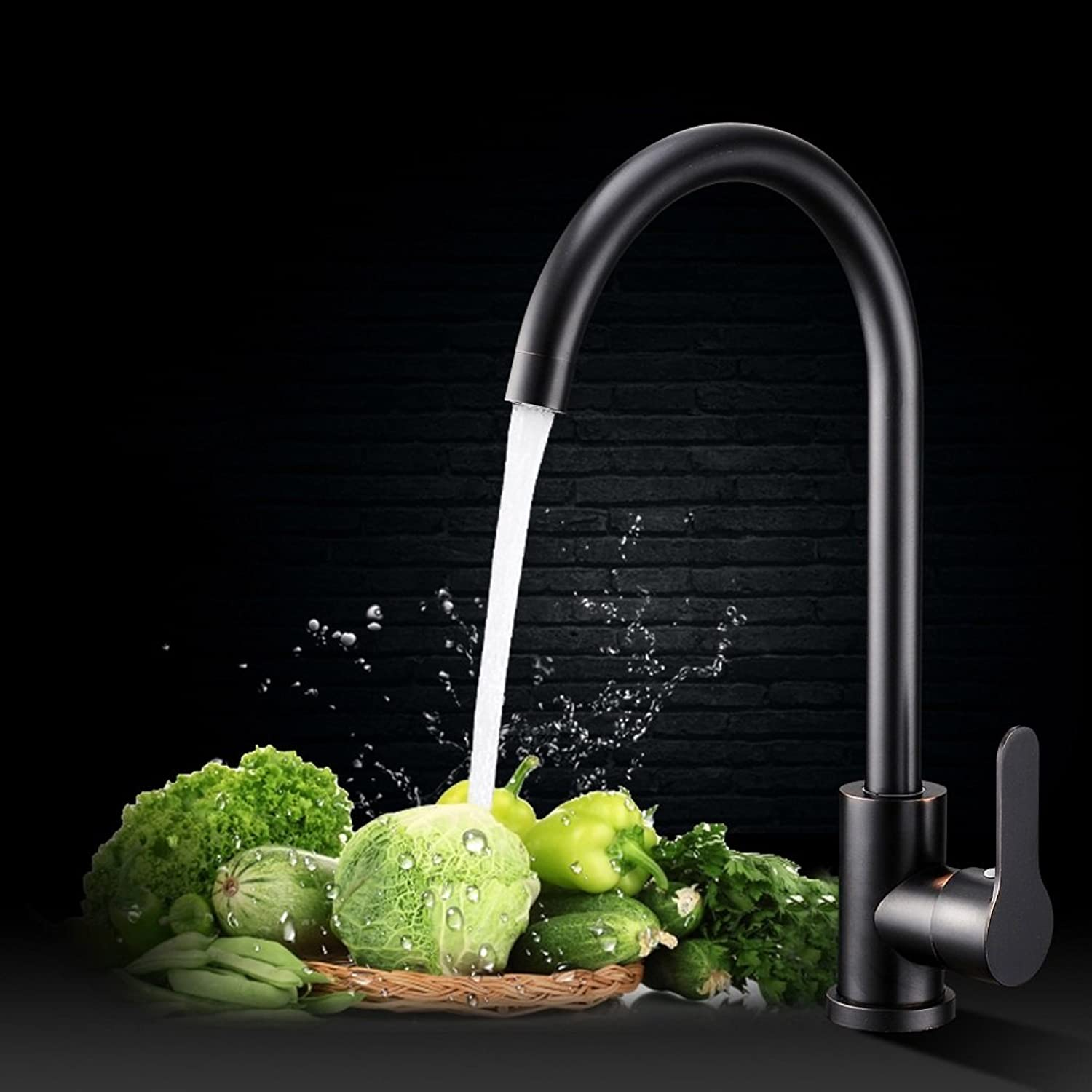 Black bronze 304 stainless steel redatable kitchen sink hot and cold water faucet