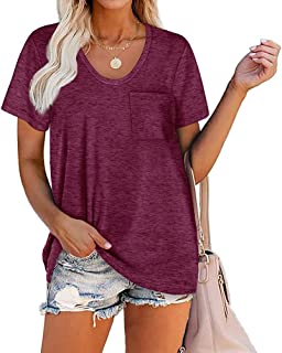 Summer Casual Tops for Women Front Pocket Round Neck Short Sleeve T Shirts Blouses Loose Fit Solid Color Comfort Soft