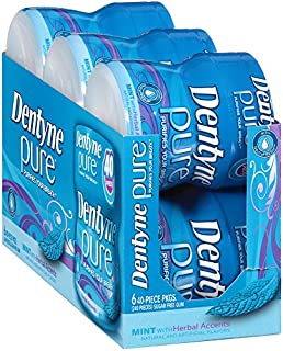Dentyne Pure Sugar Free Gum, Mint with Herbal Accents - 40 Count Bottle (Pack of 6)