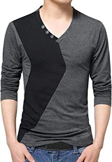Forthery Men's Henley T-Shirts Casual Patchwork Slim Fit V Neck Button Muscle Tops(Grey, US Size XL = Tag 2XL)