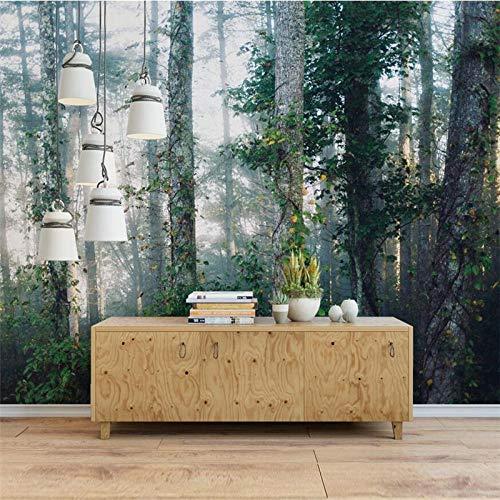 ZJfong 3D aangepaste foto behang Scandinavische mist bos bank slaapkamer woonkamer TV achtergrond muur muurschilderingen 42 x 260 cm.