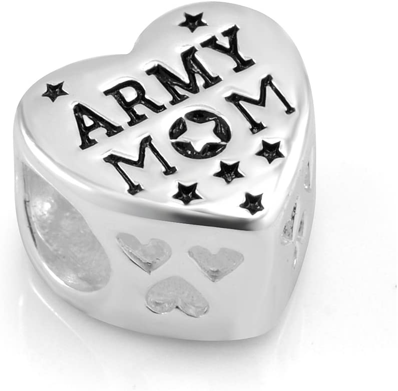 925 Sterling Silver Enamel US American MOM Bead Ranking TOP16 Heart New Free Shipping Army Flag