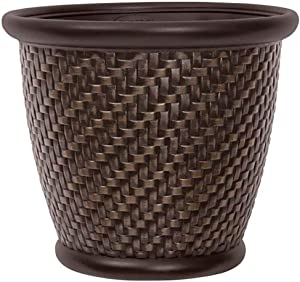 Suncast 1807J4 18 x 16.5 Inch Wicker Resin Dirt Pot Garden Planter Pot (4 Pack)