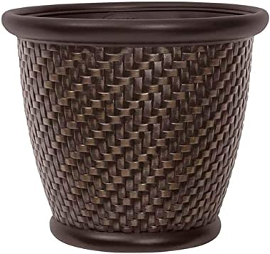 "Suncast 1807J4 TRV174255 18"" x 16.5"" Resin Planter-Lightweight Contemporary Flower Po, Dark Brown"