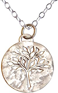 Sterling Silver Tree of Life Necklace, Hammered Round Family Tree for Mom, Mother's Day Gift. Perfect retirement gift!