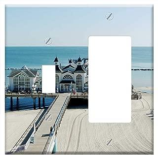 1-Toggle 1-Rocker/GFCI Combination Wall Plate Cover - Sea Bridge Baltic Sea RUgen Sellin Pier Coast