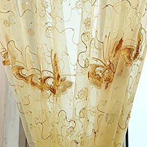 pureaqu beautiful embroidered sequins butterfly sheer curtains for nursery girls room rod pocket top voile window treatment panels for french door living room 1 panel w39xh63
