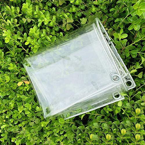 Plant Covers Clear PVC Soft Glass Waterproof Tarpaulin,Heavy Duty Windshield Insulation Cold Protection Rainproof Tarp Cloth,Balcony Sunscreen Curtains Thicken 0.5mm,with Eyelets(1.2x3m/3.9x9.8ft)