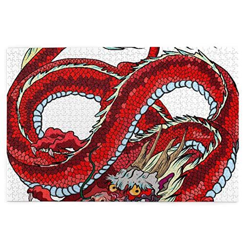 KIMDFACE Rompecabezas Puzzle 1000 Piezas,Infinity Red Dragon en círculo Aislado sobre Fondo Blanco.,Puzzle Educa Inteligencia Jigsaw Puzzles para Niños Adultos