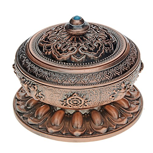 Saim Chinese Classic Style Incense Burner Alloy Metal Buddha Incense Holder Candle Censer Buddhist Decor Home Decoration - Small (Copper)