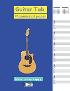 Guitar Tab Manuscript Paper,, Persian blue cover: 100 pages - Large(8.5 x 11 inches)