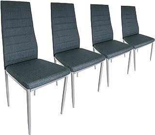 CADENTRO - Juego de 4 sillas de piel sintética, color gris y azul