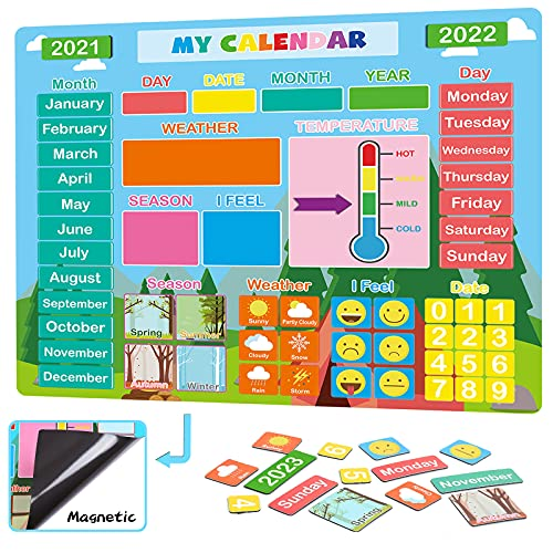 My First Daily Calendar for Kids  Magnetic Learning Calendar for Home/Classroom/Fridge  Educational Toy for Toddler/Kindergarten/Preschool  Homeschool Supplies for 3 4 5 6 7 Years Old Boy/Girl