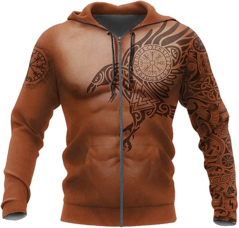Viking 3D All Over Printed, Hoodie, Zipper Hoodie, Raven Tattoo Pullover Coats, Autumn Fashion Hooded Sweater
