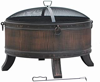 Fire Pit by Hampton Bay - Emberjack 36 in. Round Steel Wood Burning Fire Pit for Outdoor with Spark Guard and Aged Bronze Finish