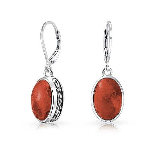 35865f603 Bali Style 3.2 CT Gemstones Dome Oval Bezel Set Leverback Drop Dangle  Earrings For Women 925
