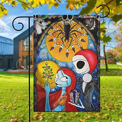 Reneealsip The Nightmare Before Christmas Garden Flag Double Sided Premium Fabric Outdoor Decoration Banner for Yard Lawn 12x18 Inch